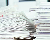 Pile of folded papers, close-up