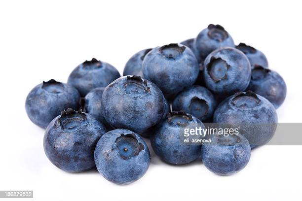 Pile of fresh blueberries on white