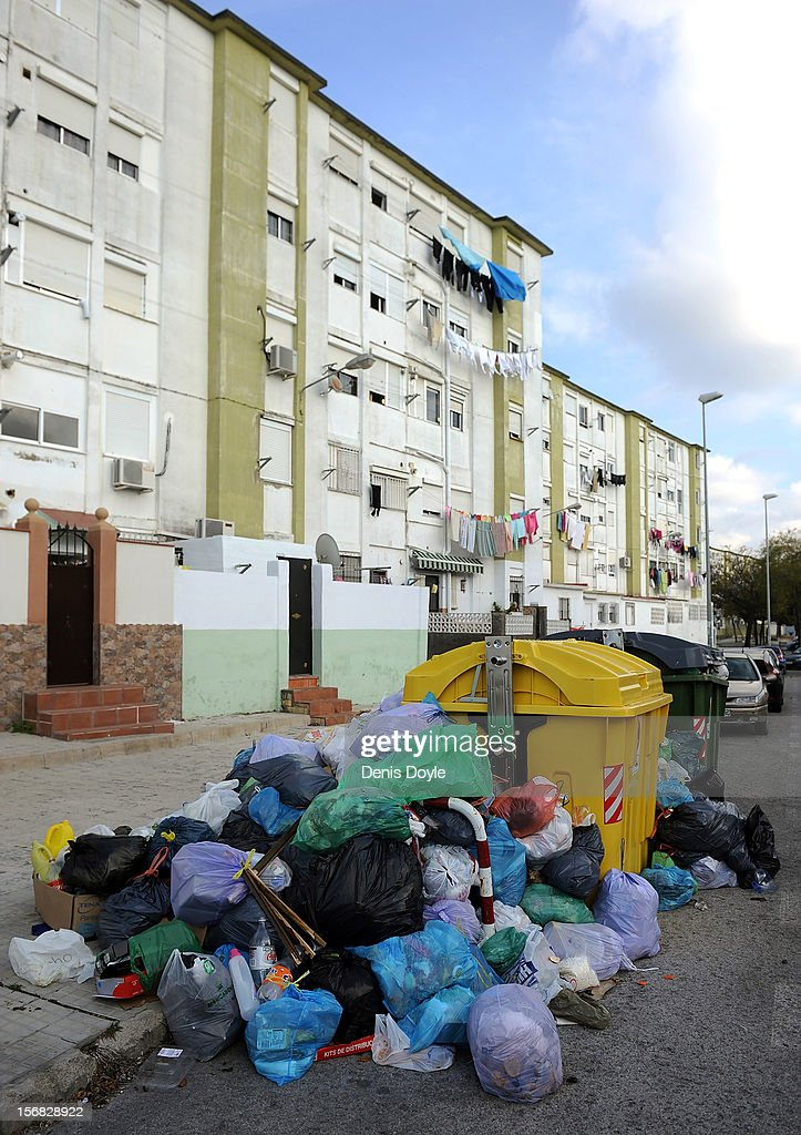 A pile of garbage waits to be collected during the 21st day of the garbage collectors strike on November 22, 2012 in Jerez de la Frontera, Spain. The garbage collectors will vote today on a compromise deal which saves the 123 jobs due to be cut in favour of reductions in saleries.