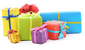 Pile of gifts isolated on a white background.