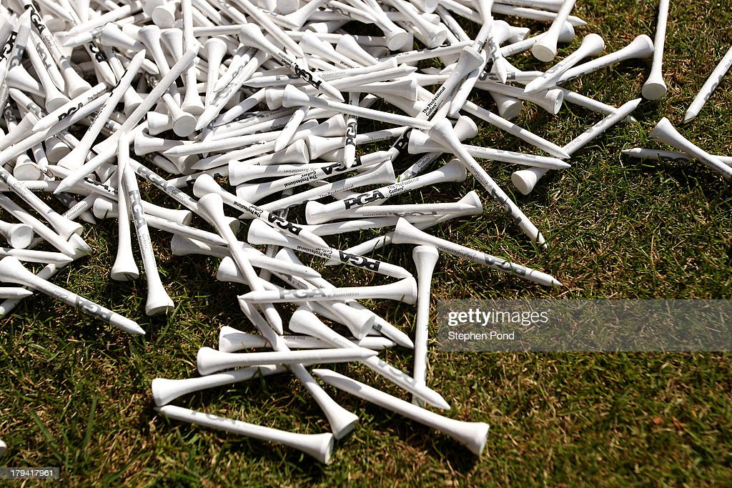 A pile of golf tees during the PGA Super 60's Tournament at Thorpeness Hotel and Golf Club on August 30, 2013 in Thorpeness, England.