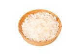 Pile of gourmet Himalayan pink sea salt in a bowl