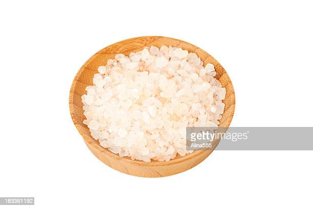 Pile of gourmet Himalayan pink sea salt in a bowl