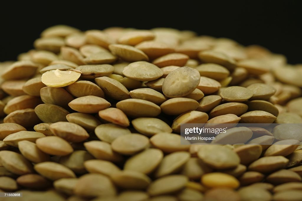 Pile of green lentils