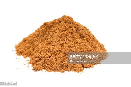 Pile of ground cinnamon on white background