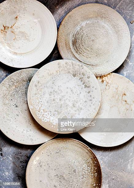 Pile of handcrafted ceramics in shop
