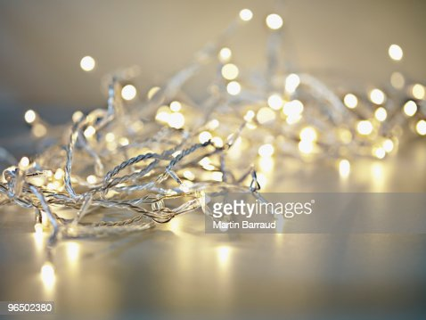 Pile of illuminated string lights : Stock Photo