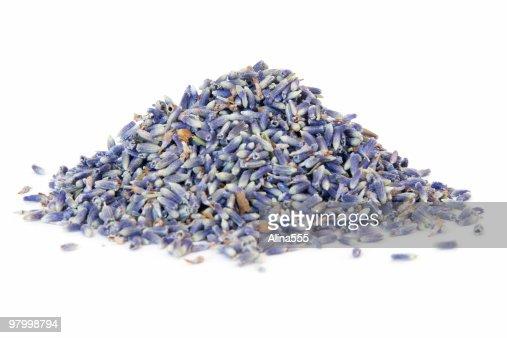 Pile of lavender on white