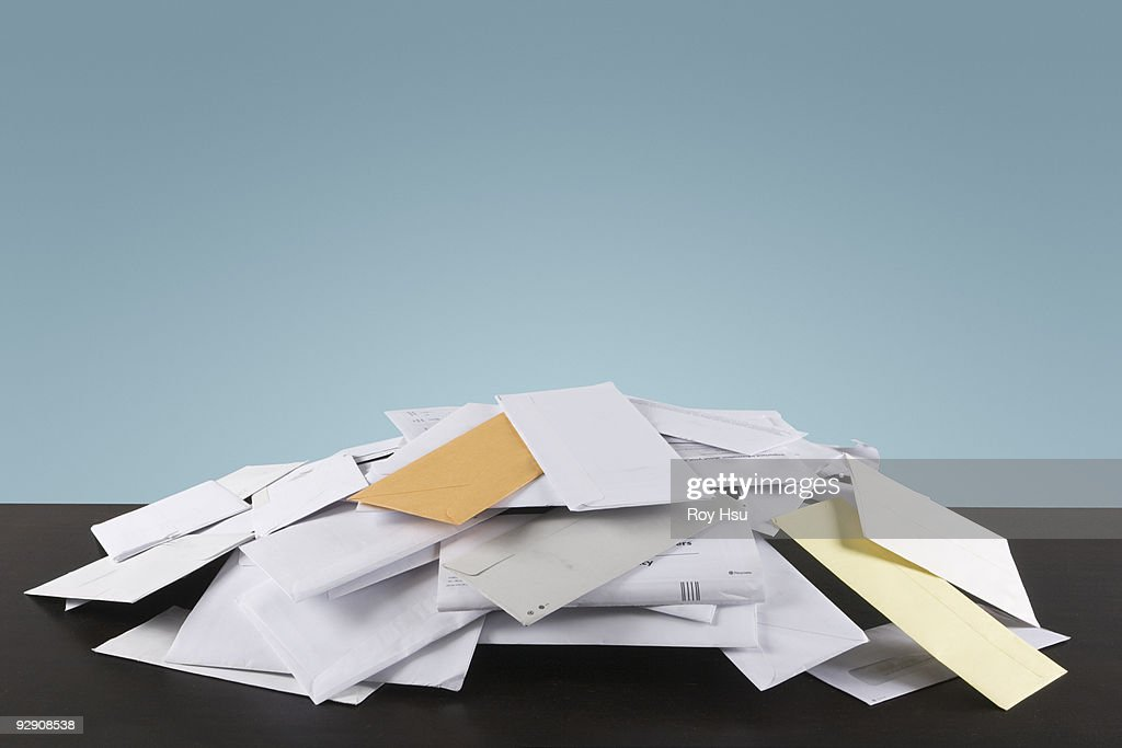 Pile of mail on table : Stock Photo