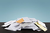 Pile of mail on table