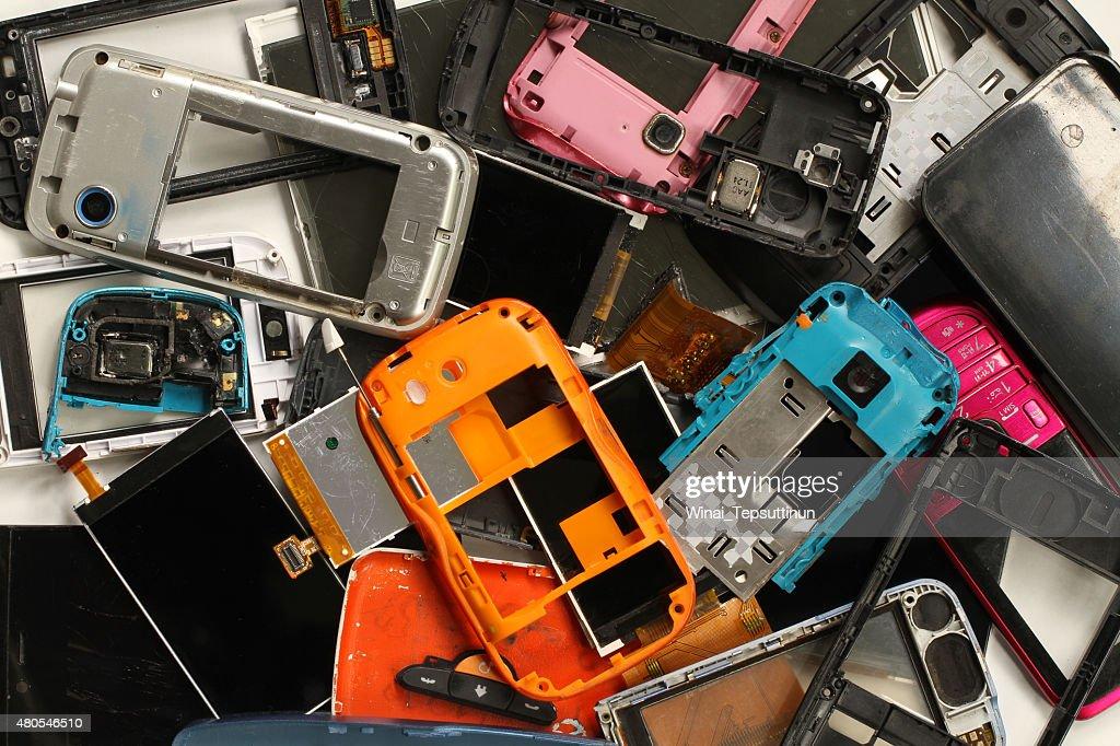 Pile of mobile phone scrap : Stock Photo