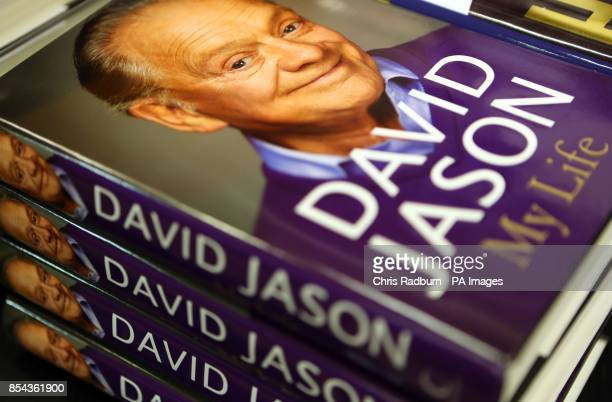A pile of My Life books by David Jason in Waterstones in Cambridge