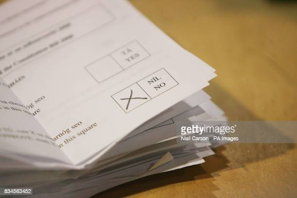 A pile of no votes as counting begins in the crucial Lisbon Treaty referendum at the RDS in Dublin