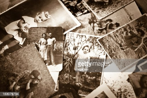 A pile of old black and white photographs : Stock Photo