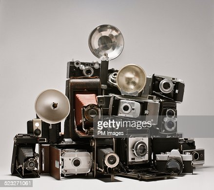 Pile of old cameras