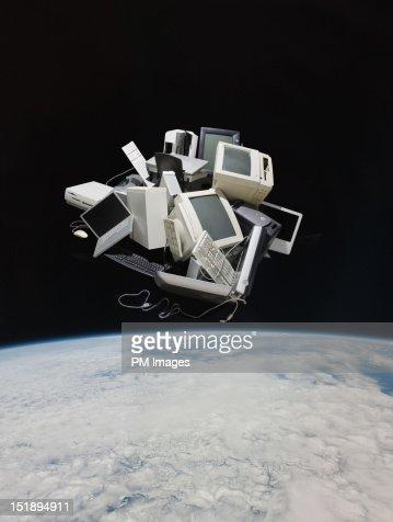 Pile of old computers in space : Bildbanksbilder