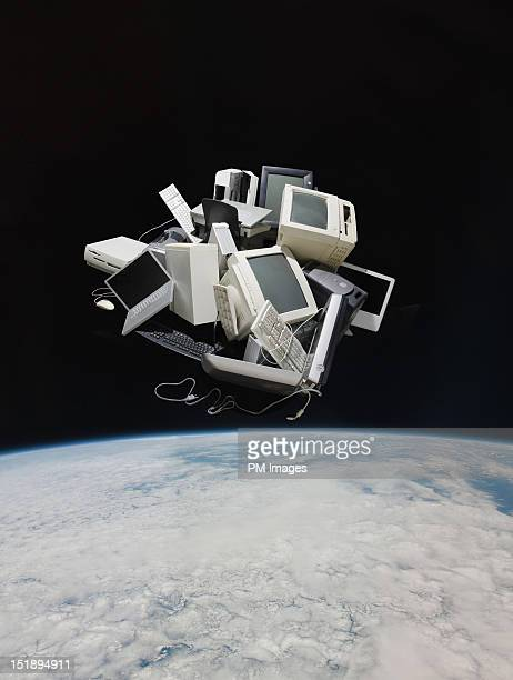 Pile of old computers in space
