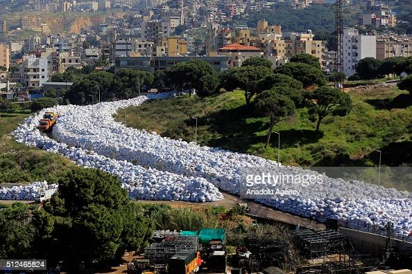 Pile of packed garbages are seen before exportation at Al Jadeed district in Beirut Lebanon on February 26 2016 Lebanon agrees to end its garbage...