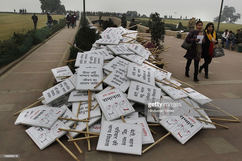 Pile of play cards during the prayer ceremony for a rape victim after a rally, organized by Delhi Chief Minister Sheila Dikshit (unseen), protesting for justice and security for women at Raj Ghat on January 2, 2013 in New Delhi, India. Dikshit flagged off the 'Mahila Suraksha Samman March' from Bal Bhavan to Rajghat which was participated by over a thousand women.