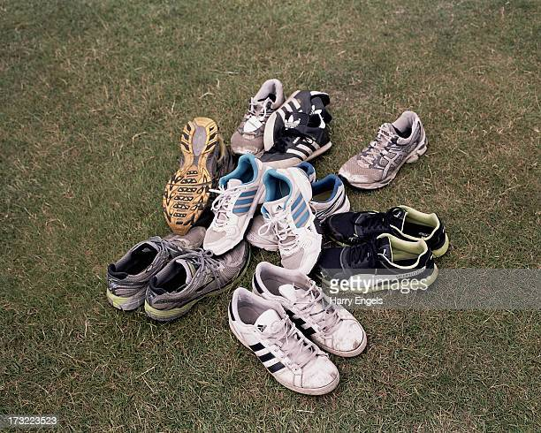 A pile of rowers' shoes are seen in the boat tent area during the Henley Royal Regatta on July 5 2013 in HenleyonThames England