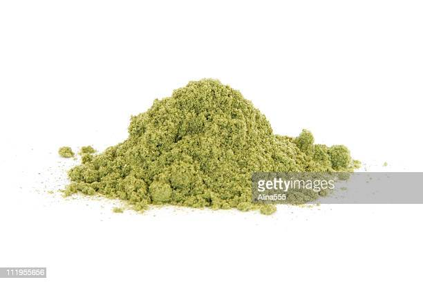 Pile of rubbed sage on white