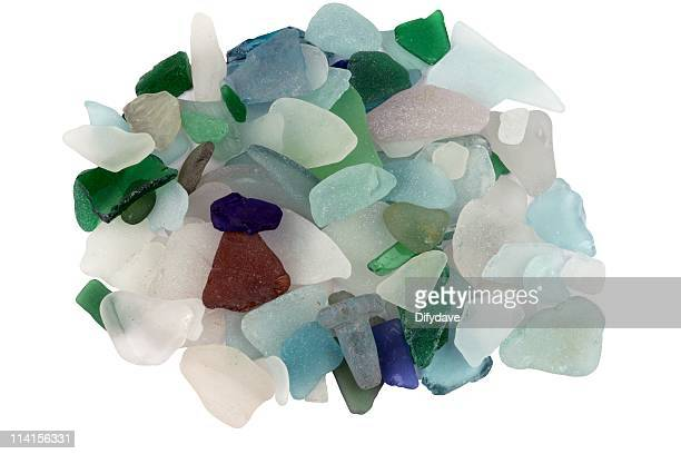 Pile Of Sea Glass Found On The Beach