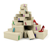 Pile of shoe boxes with red high-heeled shoes on white background, 3D render
