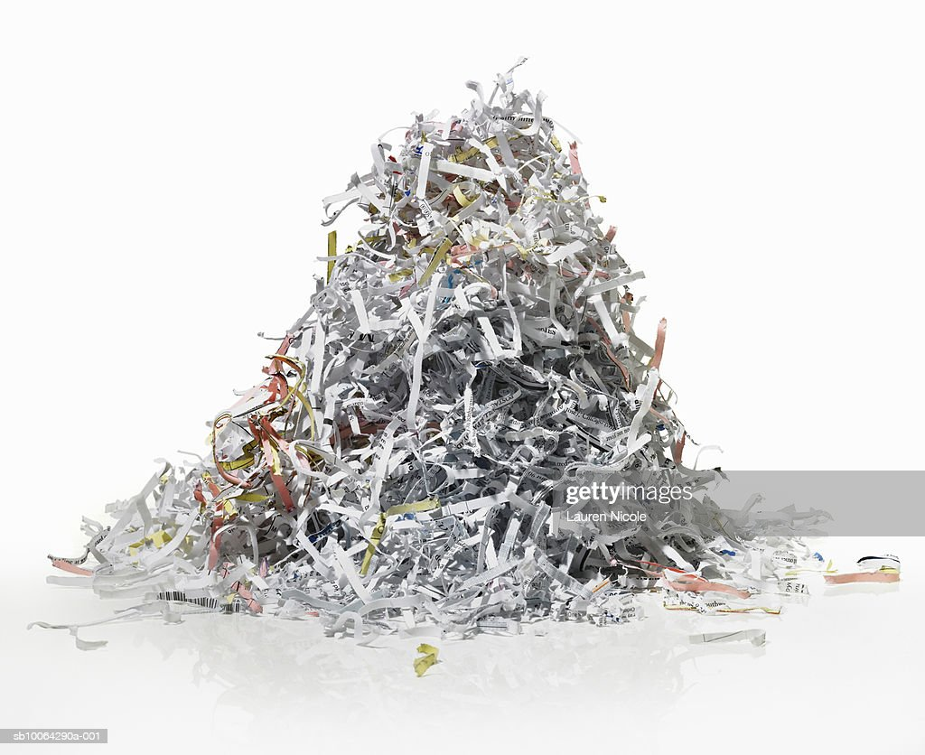 Pile of shredded paper on white background : Stock Photo