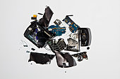 Pile of smashed cell phone parts