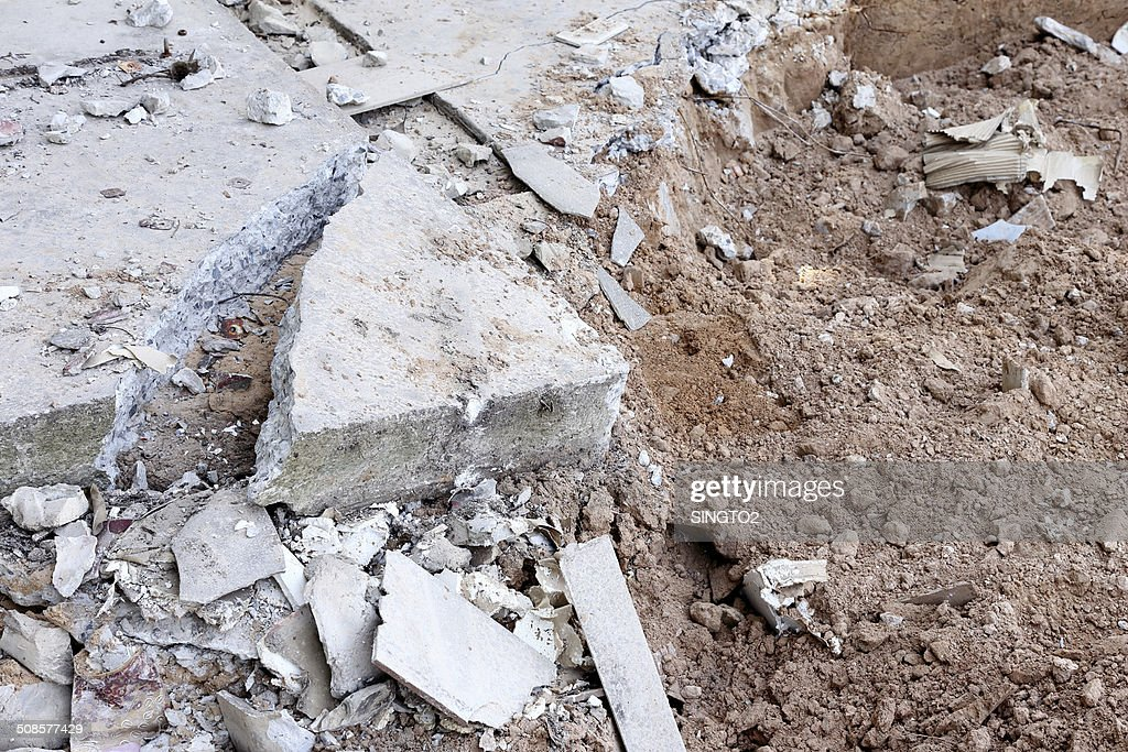 pile of smashed concrete : Stockfoto