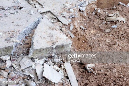 pile of smashed concrete : Stock Photo