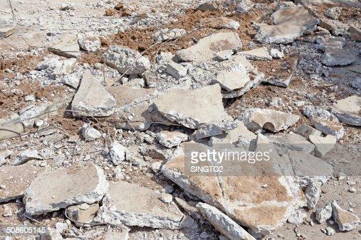 pile of smashed concrete : Stock Photo
