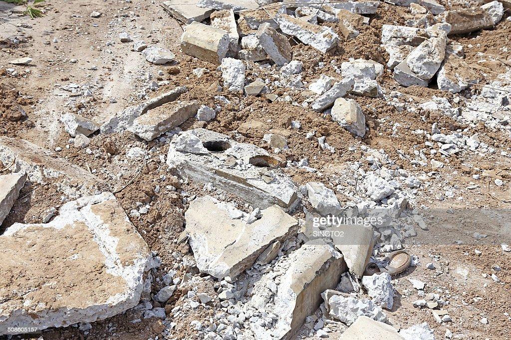 Pila de destrozada cemento : Foto de stock