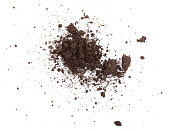 Pile of soil isolated on white background, top view,