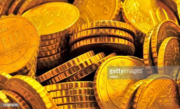 Tas de pièces d'or brillant bottier gros plan Plein cadre