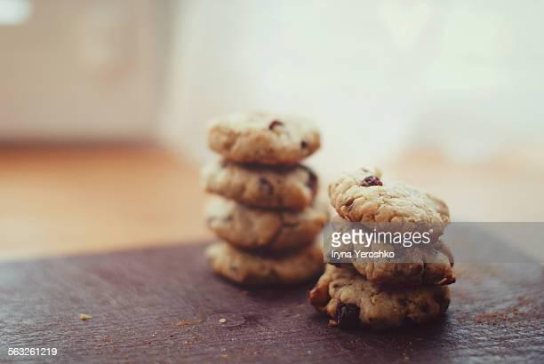 Pile of tasty healthy cookies on windowsill