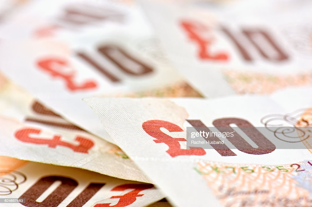 Pile of ten pound British Sterling notes