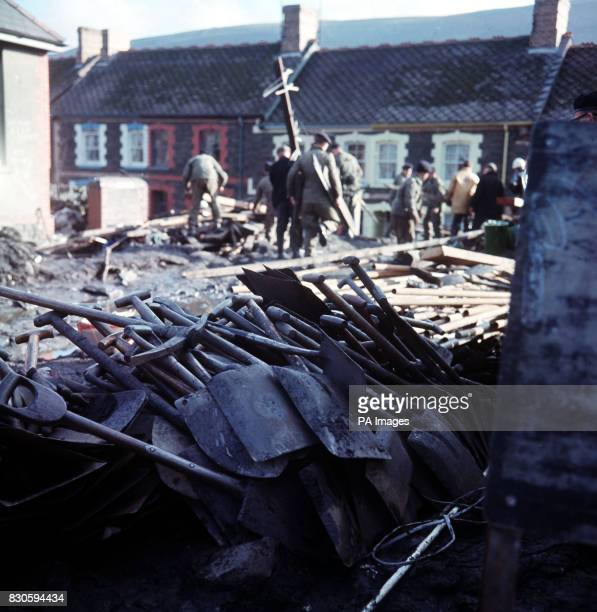 A pile of tools used by rescuers at Aberfan a mining village in South Wales after a coal tip slid down the mountan and buried alive children at...