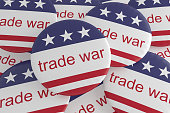 USA Politics News Badges: Pile of Trade War Buttons With US Flag, 3d illustration