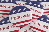 USA Politics News Badges: Pile of Trade War Buttons With US Flag, 3d illustration