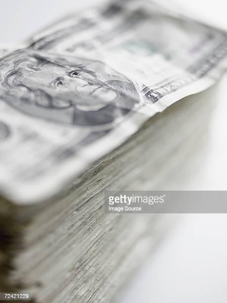 Pile of twenty dollar notes