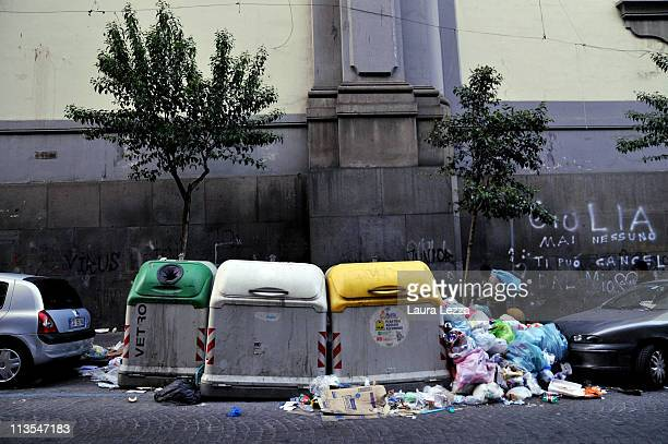 A pile of uncollected rubbish near the Catherdal of Naples on May 2 2011 in Naples Italy Italy's third largest city is once again experiencing a...