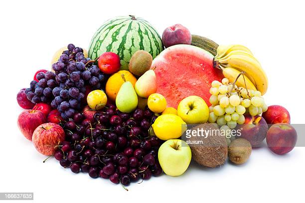 Pile of various colorful fruits isolated on white