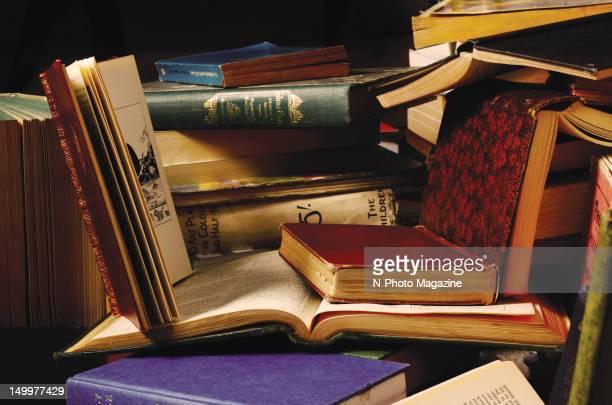 A pile of vintage leatherbound books taken on April 22 2011