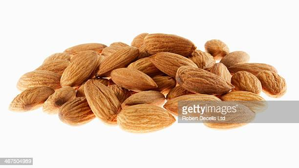 Pile of whole unblanched almonds