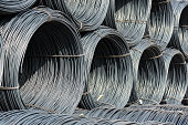 A pile of wire rod or coil as a raw material for industrial usage
