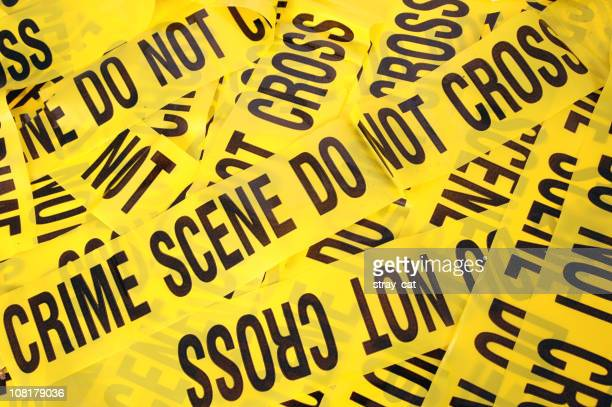 Pile of yellow crime scene tape