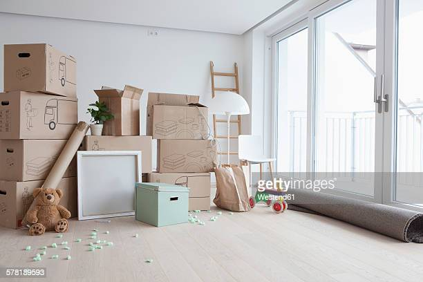 Piled cardboard boxes in flat