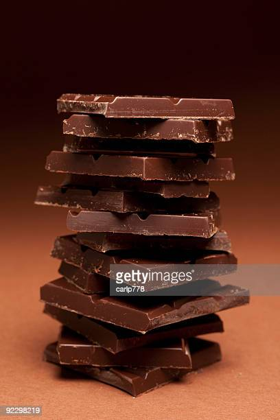 Piled up pieces of dark chocolate