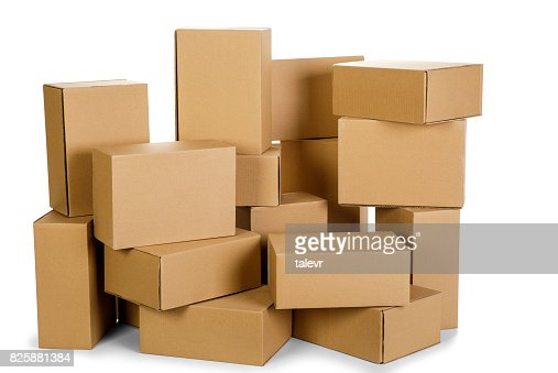 piles of cardboard boxes on a white background : Stock Photo